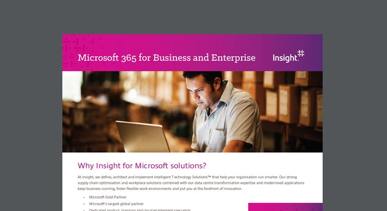 Thumbnail of Microsoft 365 for Business and Enterprise datasheet available to download below