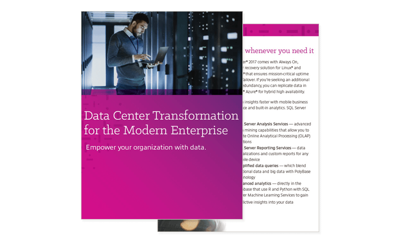 Enterprises Data Center Transformation cover and secondary page