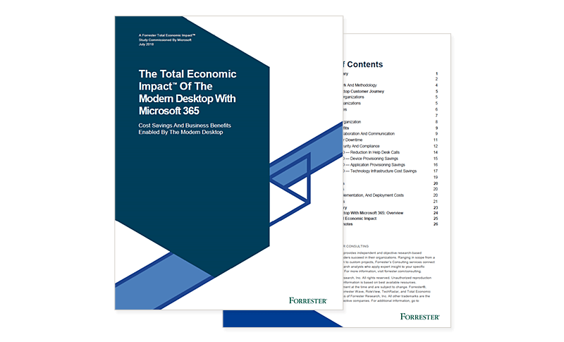 The Total Economic Impact of the Modern Desktop With Microsoft 365 Forrester report