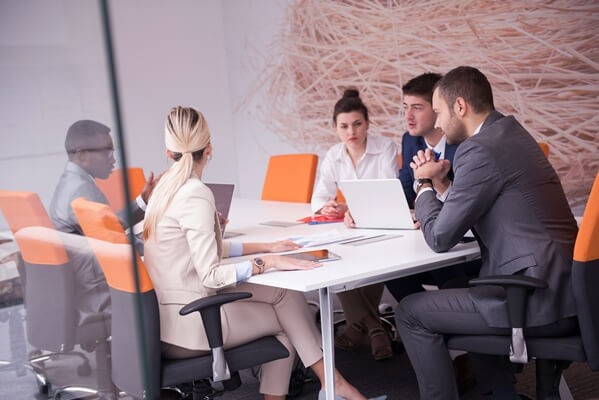 Business meeting in a modern office building