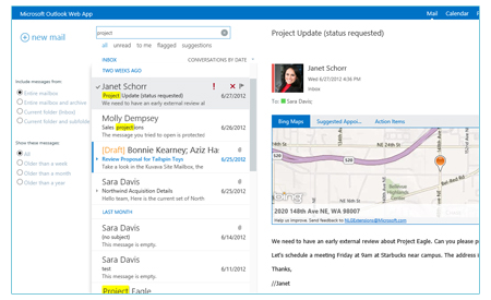 View of Microsoft Exchange Interface